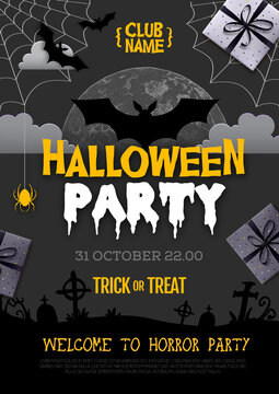Halloween disco party poster with full moon and bat silhouette. Halloween background