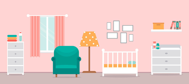 Cozy interior of the nursery. Children's room with furniture for the girl. Room design for newborn. Changing table, crib and other items for a newborn. Vector illustration in a flat style.