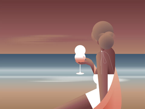 Illustration of woman holding glass of drink on beach during sunset