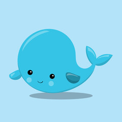 Baby whale blue