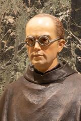 RAVENNA, ITALY - JANUARY 27, 2020: The statue of martyr St. Maximilian Kolbe in the church Basilica di Sant Francesco.