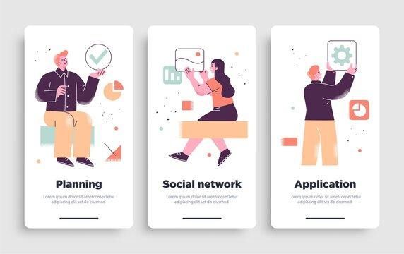 Poster, flyer or mobile application design templates. Business concept illustrations. Modern flat outline style