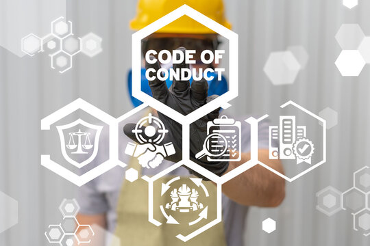 Code of conduct industrial ethics concept.