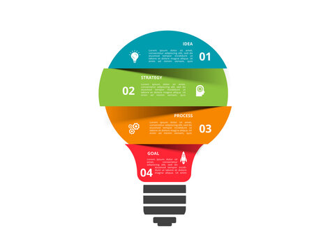 Infographics vector light bulb. Template for growth chart, graph, presentation, chart. Business startup lamp concept with 4 options, parts, steps, processes.