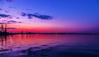 Harbor cranes container port Summer sunrise scenery landscape blue sky