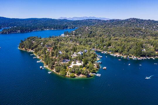 Aerial of Lake Arrowhead, California, United States of America
