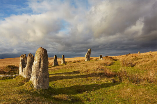 Ancient prehistoric standing stones in a stone circle, Scorhill Stone Circle, Dartmoor National Park, Devon, England, United Kingdom