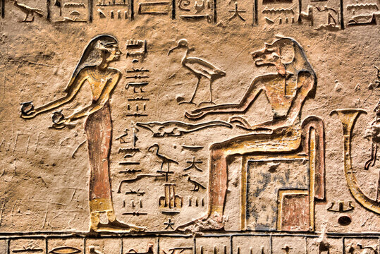 Relief, Goddess Sekhmet on right, Tomb of Ramses V and VI, KV9, Valley of the Kings, Luxor, Thebes
