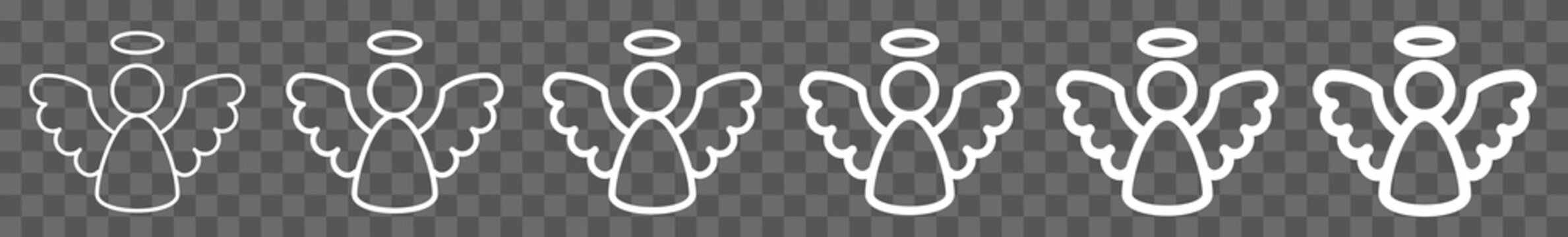 Angel Icon White | Angels Illustration | Christmas Symbol | Wings Logo | Halo Sign | Isolated Transparent | Variations
