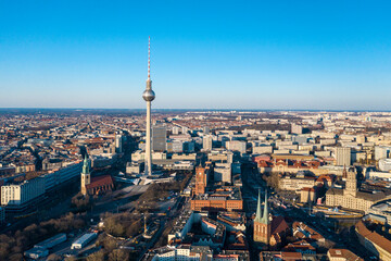 View of Alexander Platz with TV tower, Rotes Rathaus city hall and St. Marienkirche church, Berlin, Germany