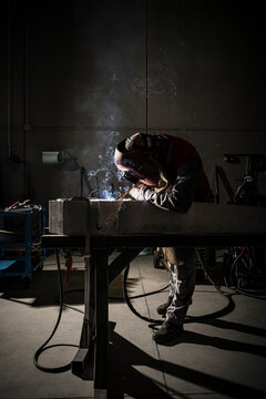 Welder that welds aluminum in his workshop