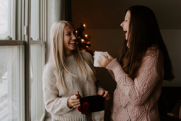 Two best friends decorating for christmas and hanging out at home