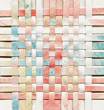 Abstract art background made with stripes of painted paper