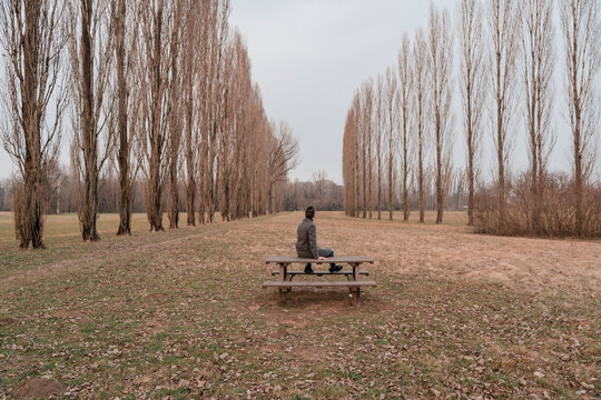 Man staying alone in Nature