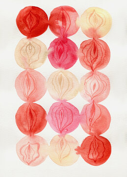 Watercolor Vulvas abstract background