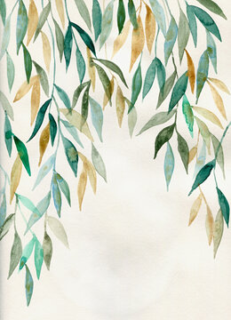 Stylish leaves watercolor art