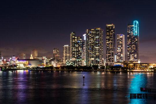 Miami cityscape after sunset, Florida. USA.