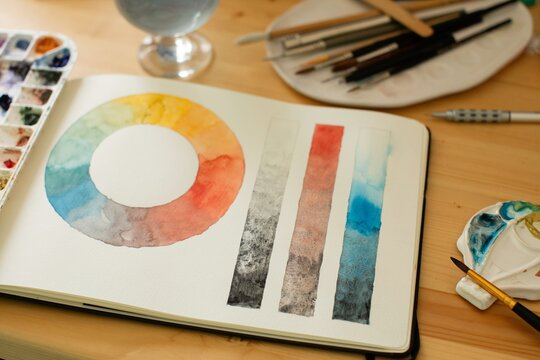 Watercolor artist's desk with open sketchbook