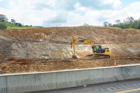 Excavator work in road construction