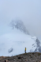 A hiker in Cerro Torre, Patagonia, Argentina
