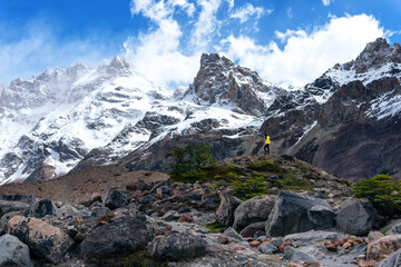 Woman hiking in Cerro Torre, Patagonia, Argentina