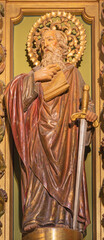 BARCELONA, SPAIN - MARCH 3, 2020: The carved polychrome statue of St. Paul the apostle in the chruch Iglesia de Belen.