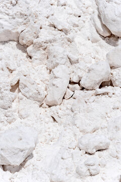 Piles of salt drying on a salt flat