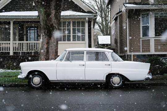 Retro Automobile In Snow