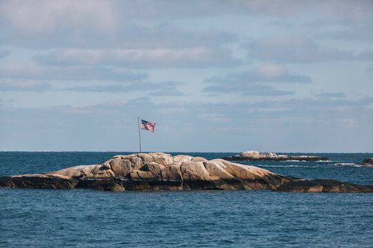 American Flag Seascape on Coast of New England