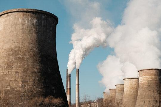 Factory pipes emitting toxic smoke