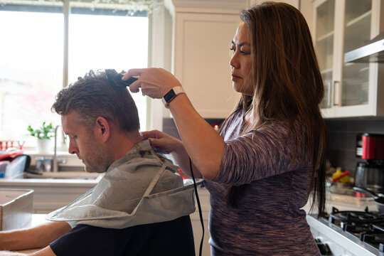 Home Haircut, Wife Cutting Husband's Hair