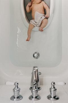 Newborn Baby in Bathtub