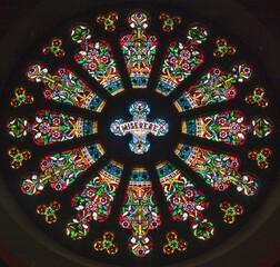 BARCELONA, SPAIN - MARCH 3, 2020: The rosette in the church Esglesia De Santa Maria De Montalegre by Antoni Rigalt (1902).
