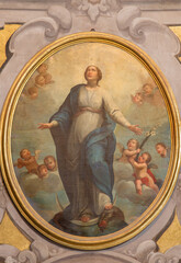 BRESCIA, ITALY - MAY 21, 2016: The painting of Immaculate Conception in church Chiesa di Santa Maria della Carita by unknown artist of 17. cent.
