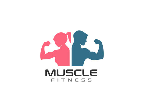 women and men fitness muscle building logo