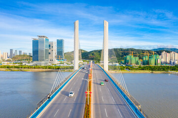 Aerial scenery of Hengqin bridge in Zhuhai City, Guangdong Province, China