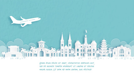 Fototapete - Travel poster with Welcome to Ho Chi Minh City, Vietnam famous landmark in paper cut style vector illustration.