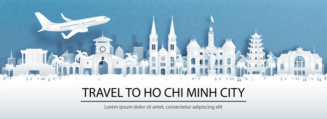 Fototapete - Travel advertising with travel to Ho Chi Minh City, Vietnam concept with panorama view of city skyline and world famous landmarks in paper cut style vector illustration.