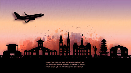 Fototapete - Watercolor of Ho Chi Minh City, Vietnam silhouette skyline and famous landmark. vector illustration.