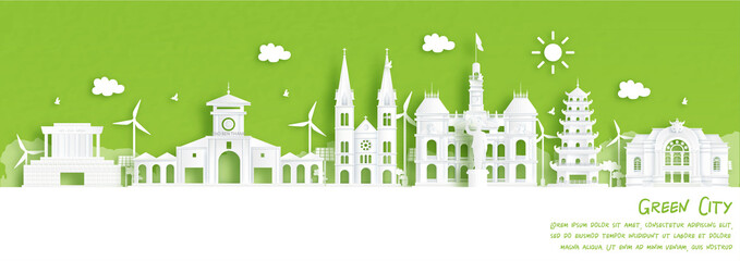 Green city of Ho Chi Minh City, Vietnam. Environment and ecology concept. Vector illustration.