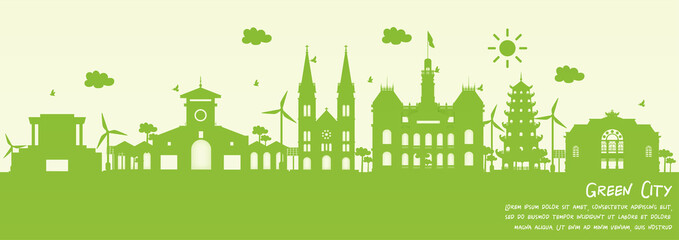 Fototapete - Green city of Ho Chi Minh City, Vietnam. Environment and ecology concept. Vector illustration.