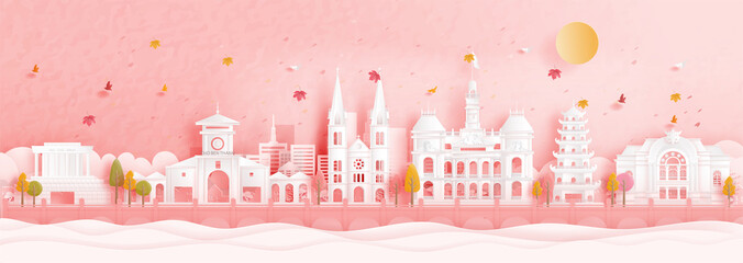Fototapete - Autumn in Ho Chi Minh City, Vietnam with falling leaves and world famous landmarks in paper cut style vector illustration