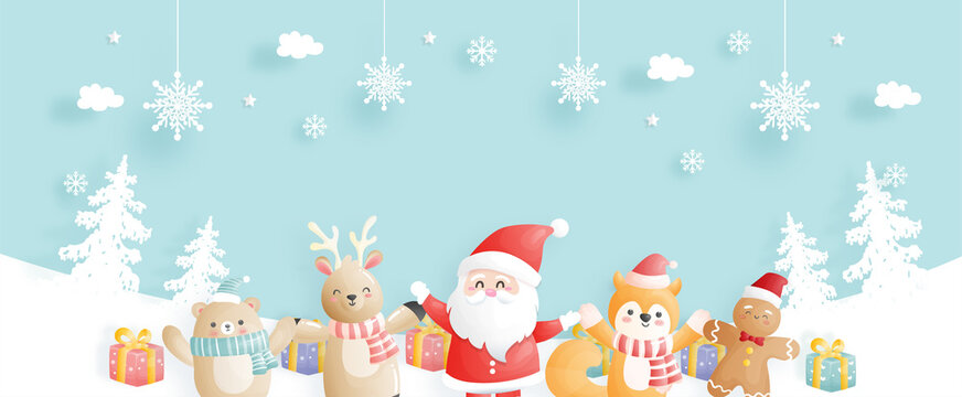 Christmas card, celebrations with Santa and friends, Christmas scene banner in paper cut style vector illustration.