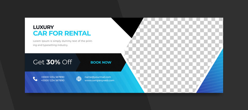 Car rental social media and facebook cover template