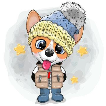 Cartoon Puppy in a knitted cap