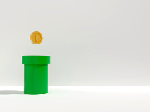 The green pipe has a coin on top. And free space for placing products / 3D Render