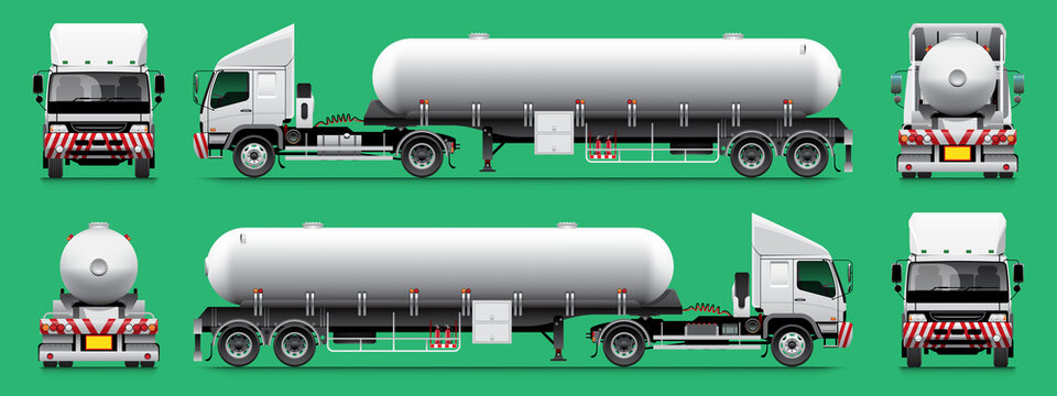 VECTOR EPS10 - semi-trailer fuel tanker truck template 14 wheel isolate on green background.