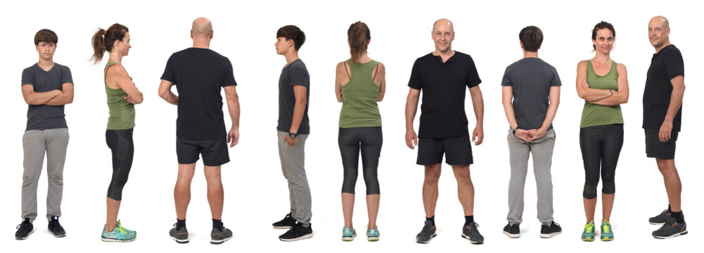 Front, side and back views of a family wearing sportswear on white background.