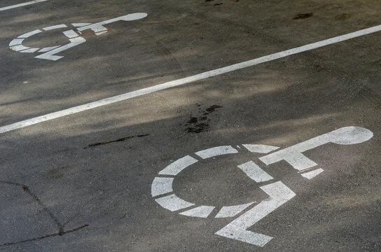 White Wheelchair Icon On A Gray Asphalt Parking Lot
