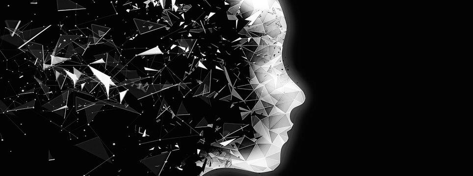 抽象的なロボットの横顔のシルエット
